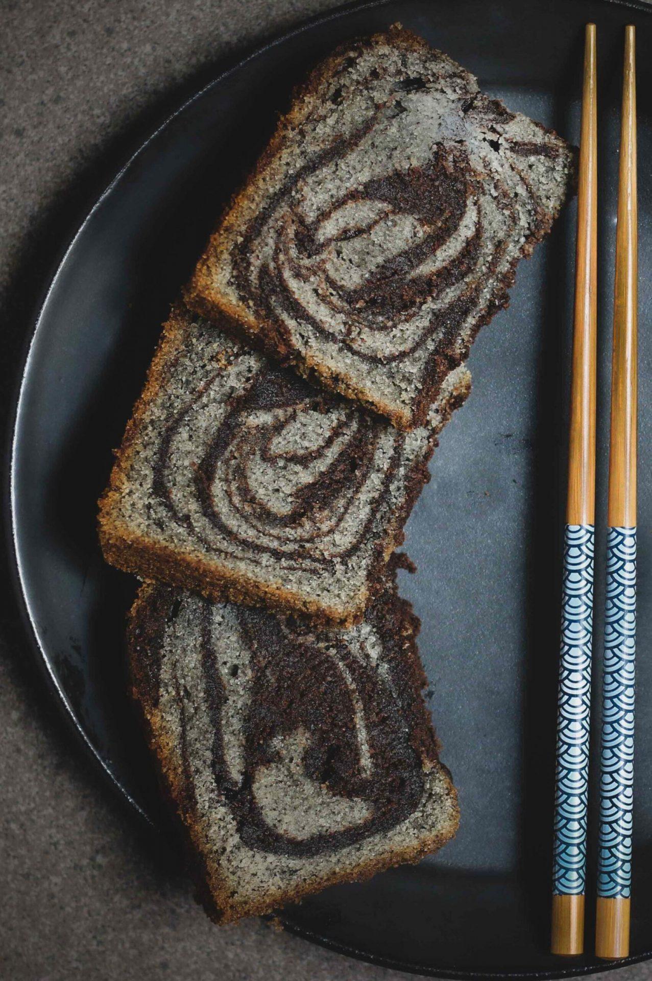 Chocolate and Black Sesame Marble Cake