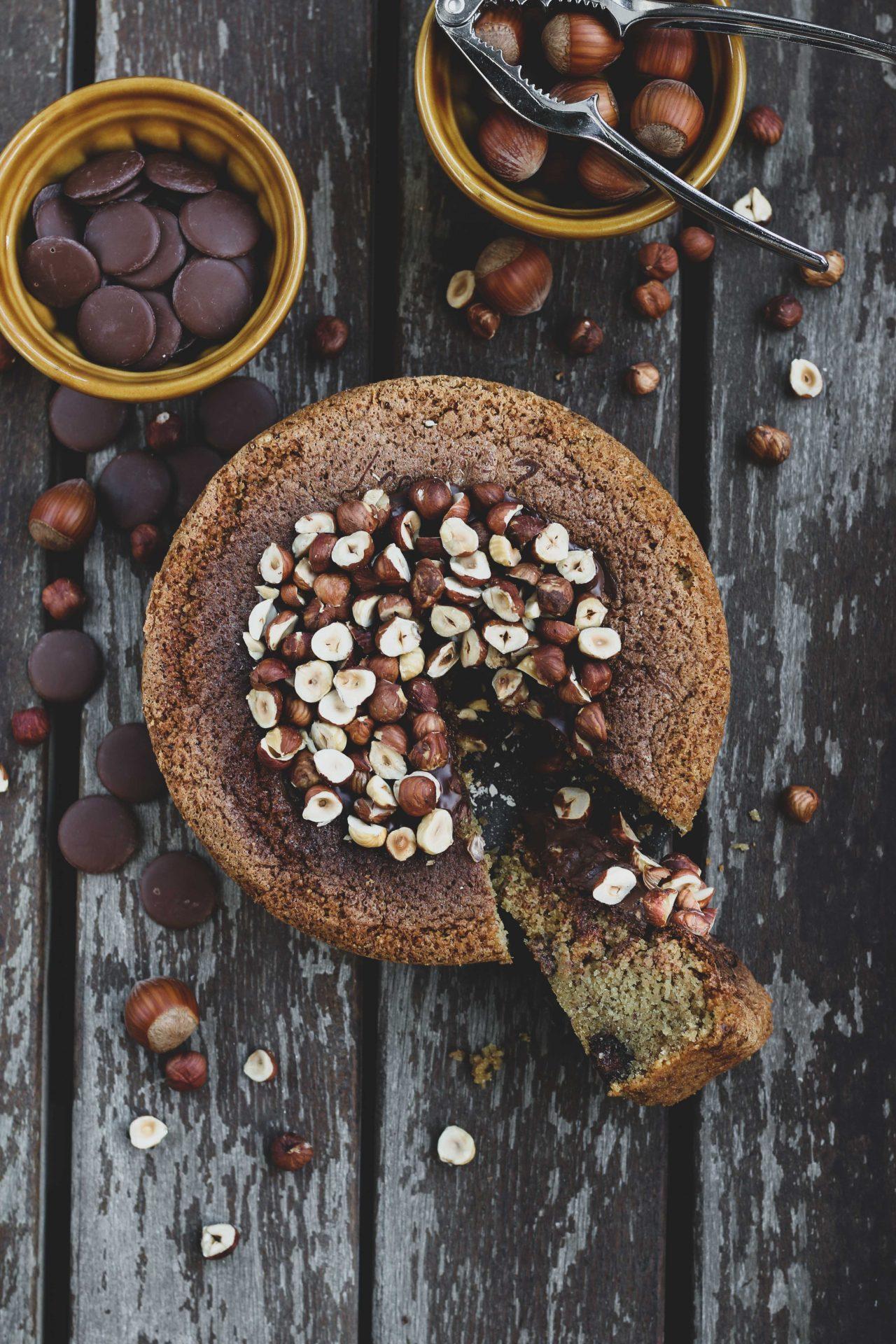 GLUTEN FREE MOIST HAZELNUT CAKE WITH CHOCOLATE HAZELNUT SPREAD